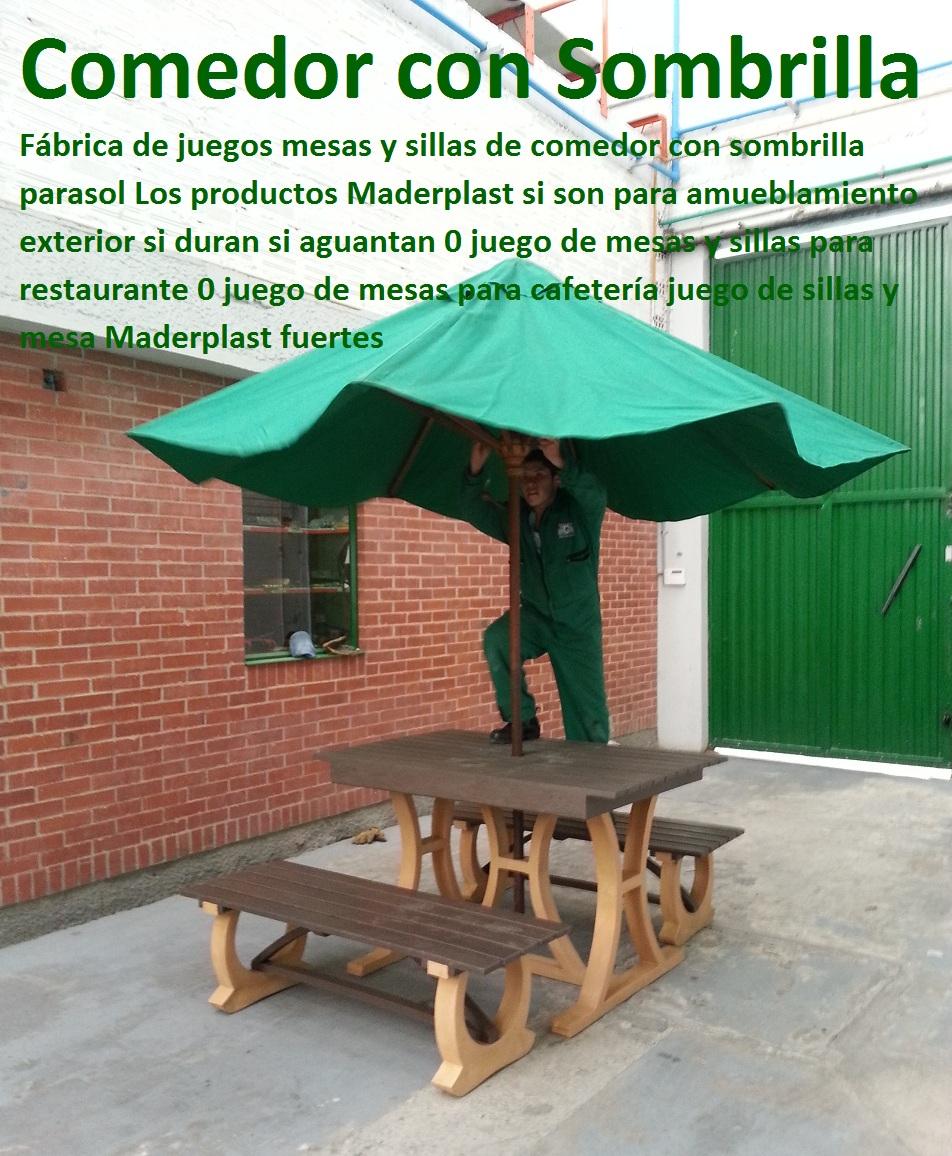17 Mesa y Sillas para Exteriores plásticos con Parasoles ...