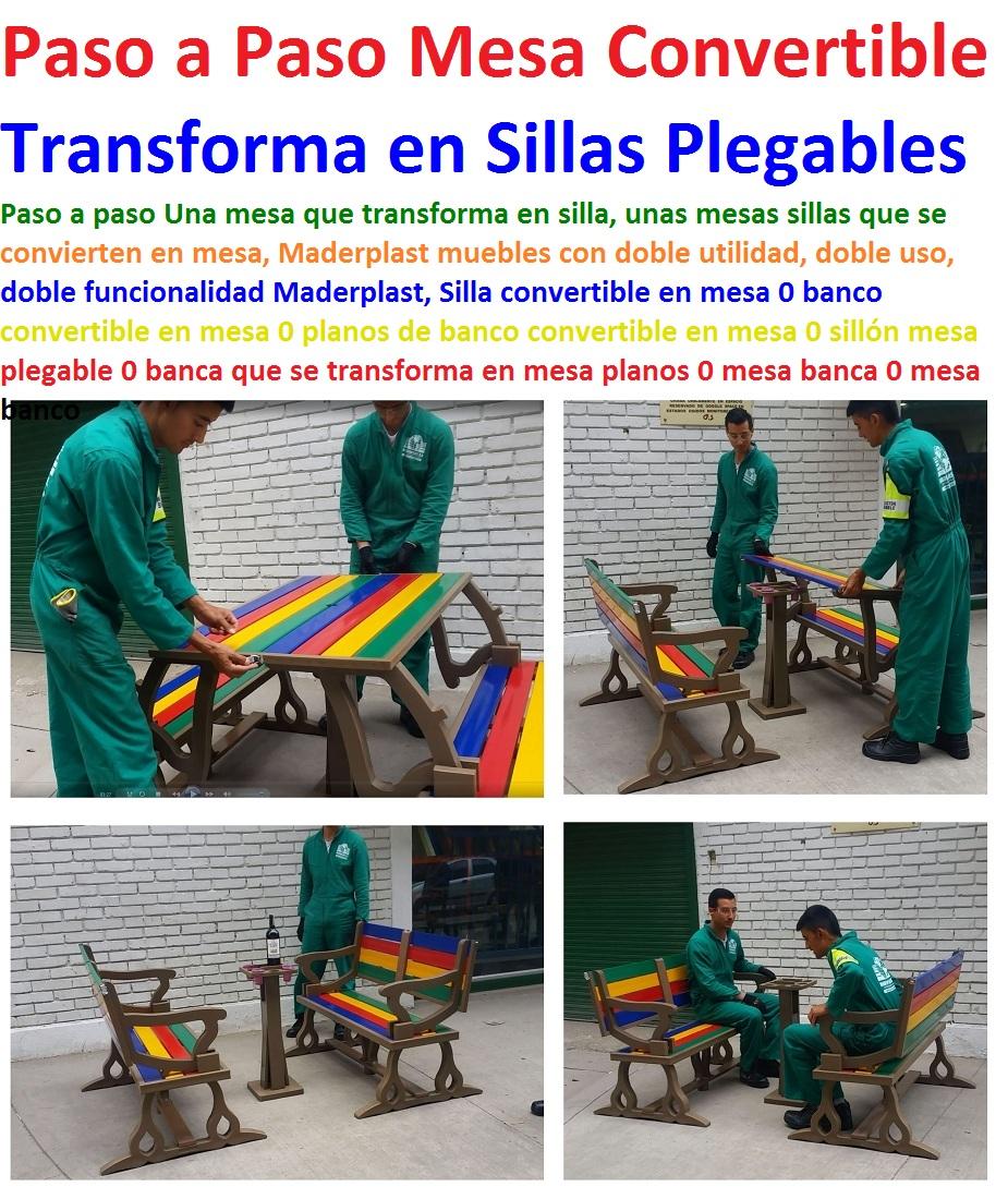 17 mesa y sillas para exteriores pl sticos con parasoles for Silla que se convierte en mesa