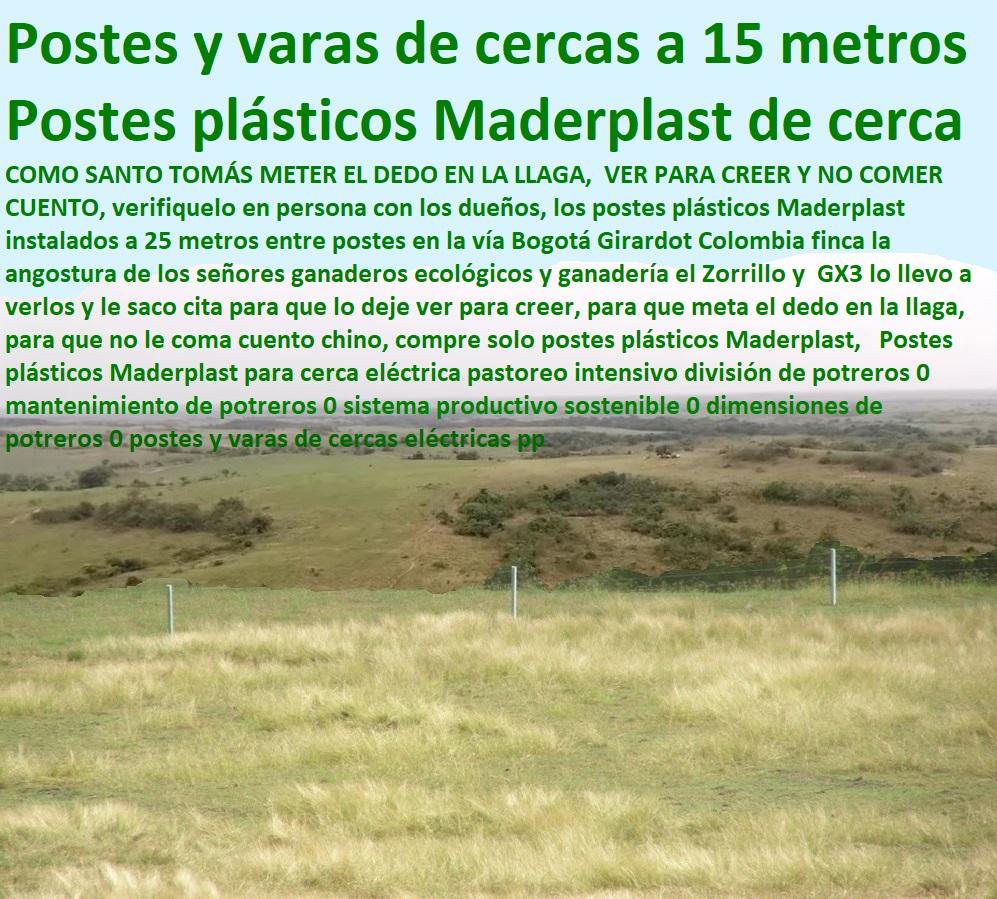 Postes plásticos Maderplast para cerca eléctrica pastoreo intensivo división de potreros 0 mantenimiento de potreros 0 sistema productivo sostenible 0 dimensiones de potreros 0 postes y varas de cercas eléctricas pp
