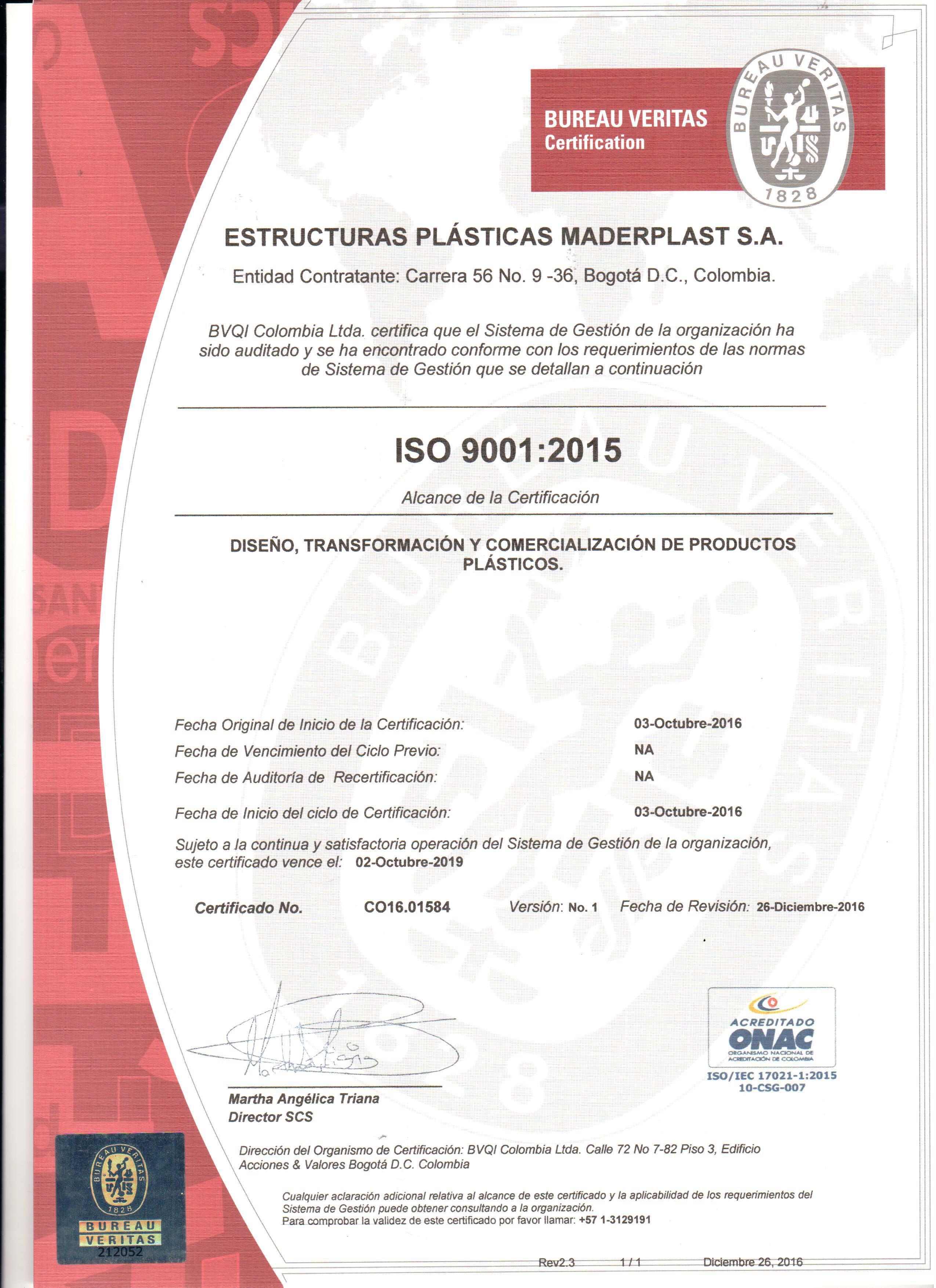 CERTIFICADOS DE CALIDAD ISO 9001 DISEÑO Y DESARROLLO DE PRODUCTOS