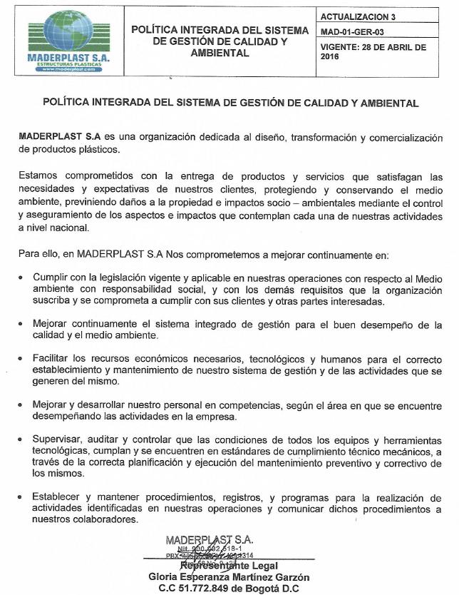 00 INSTITUCIONAL MADERPLAST MISIÓN Y VISIÓN VALORES CORPORATIVOS SISTEMAS DE CALIDAD ISO 9000 9001 14001 PREMIOS